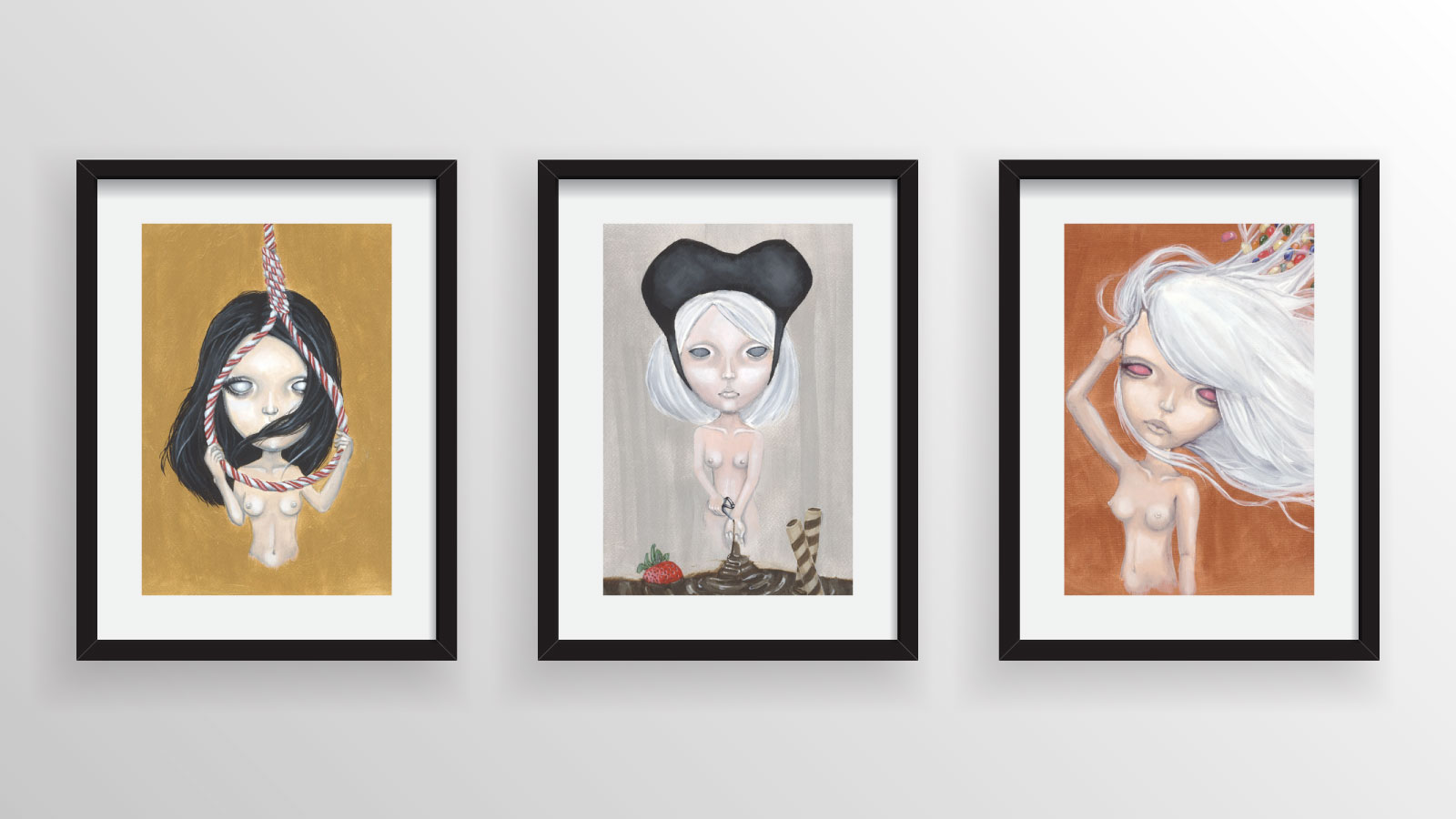 Sweetest Surrender - series of three 8x11.5in acrylic paintings on paper, framed.