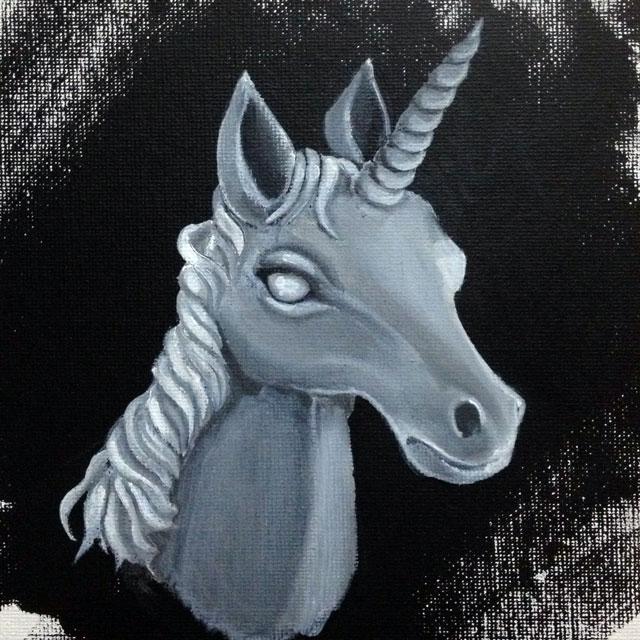 Unctuous Unicorn, acrylic on 6x6in canvas panel