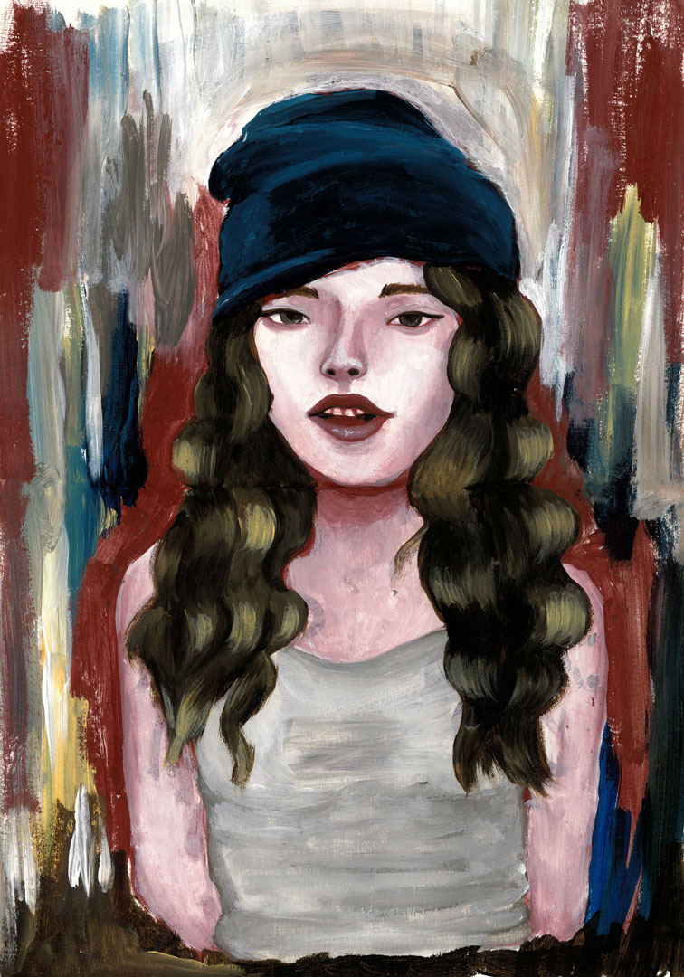 Beanie Brunette, 21x30cm acrylic on paper