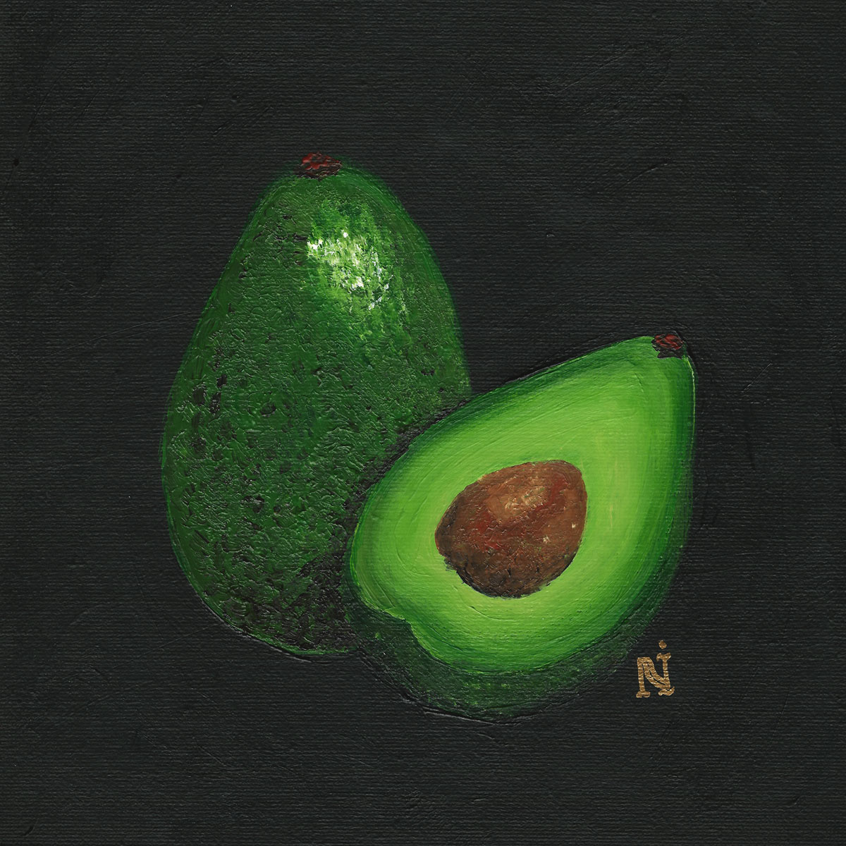 Avocado, 8x8in acrylic on canvas