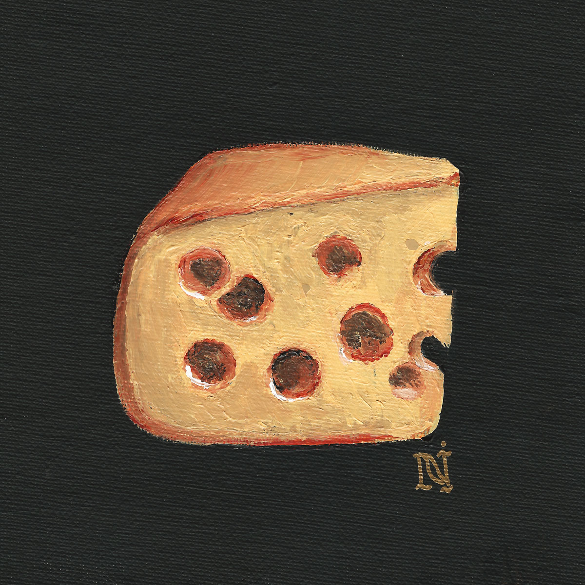 Cheese, 6x6in acrylic on canvas