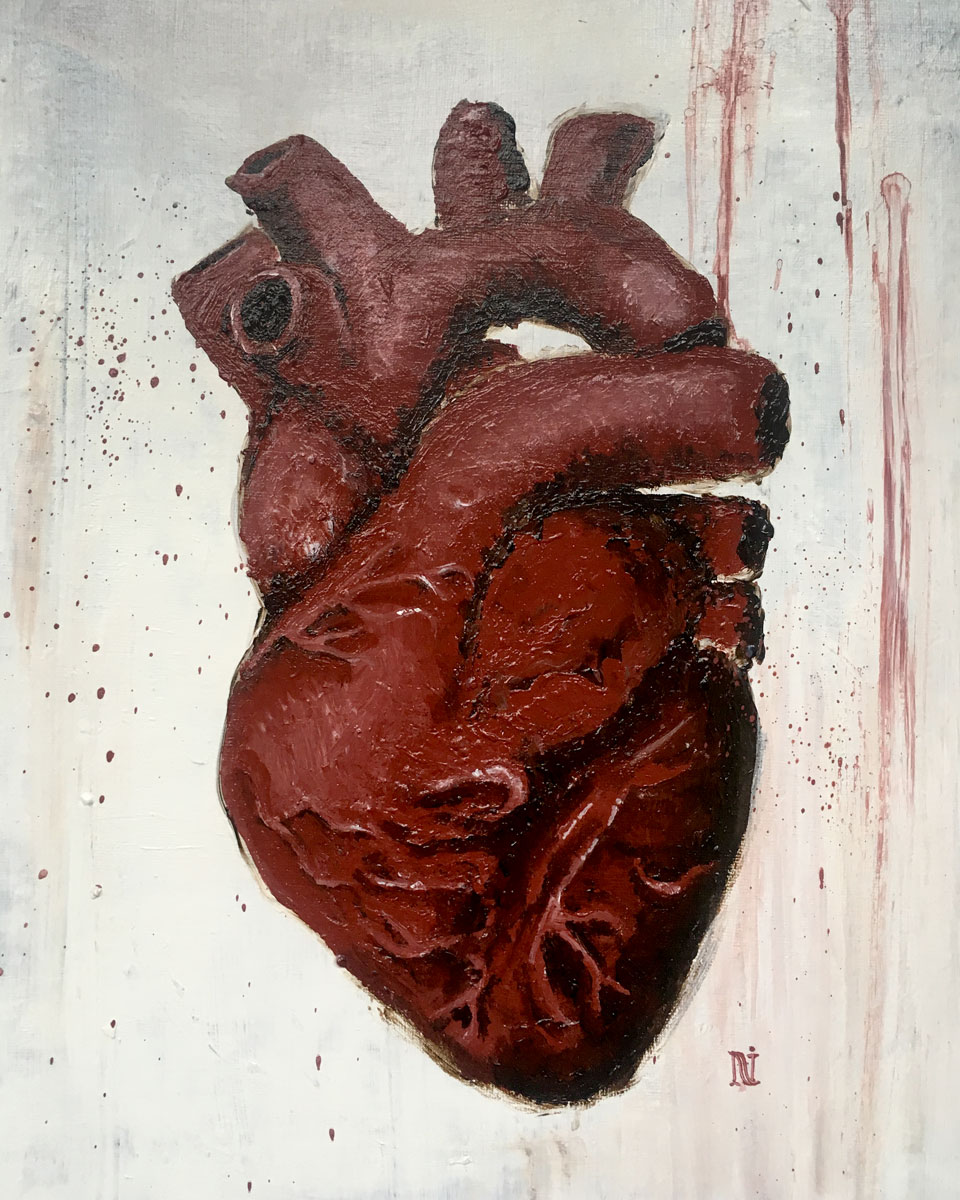 Heart, 12x16in acrylic on canvas panel