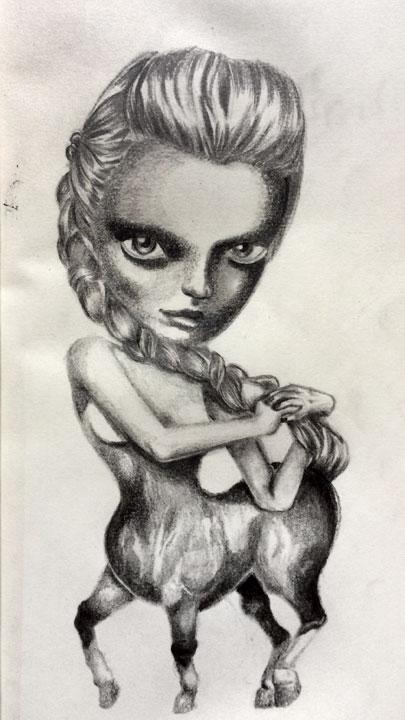 Centauress, 5x7in graphite on paper