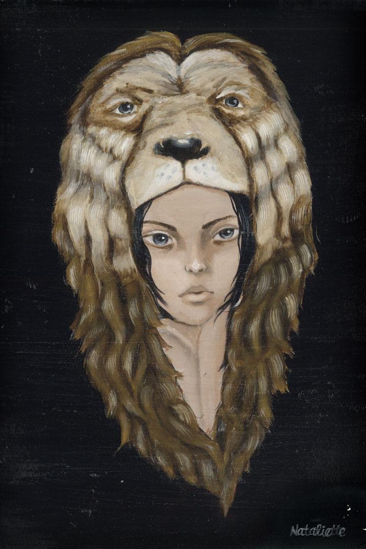 Lionskin, 8x12in acrylic on paper
