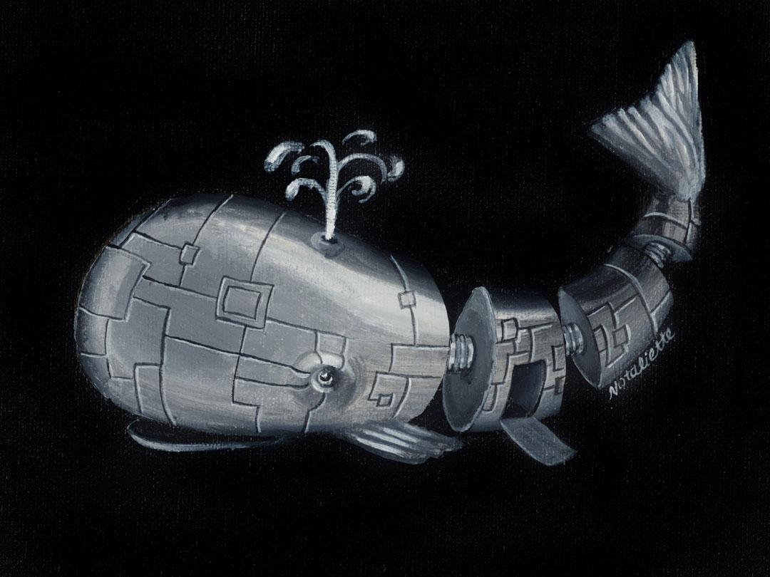 Mecha Whale, 8x6in acrylic on canvas