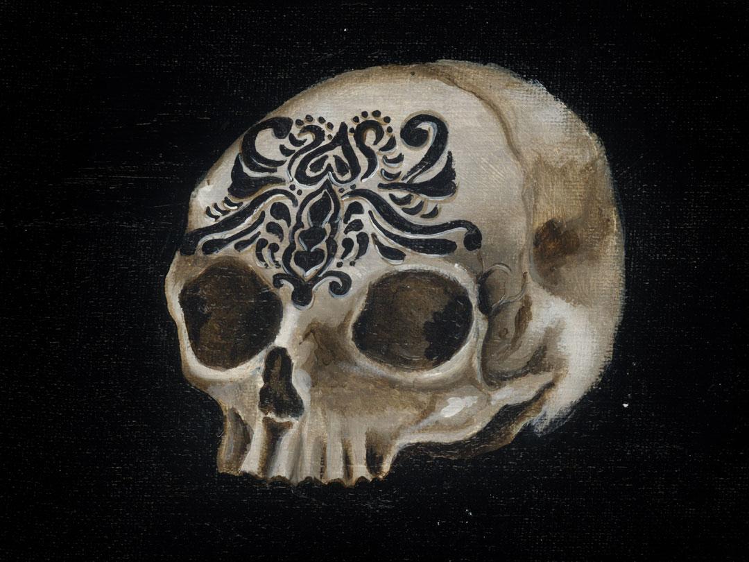 Skull, 8x6in graphite on canvas
